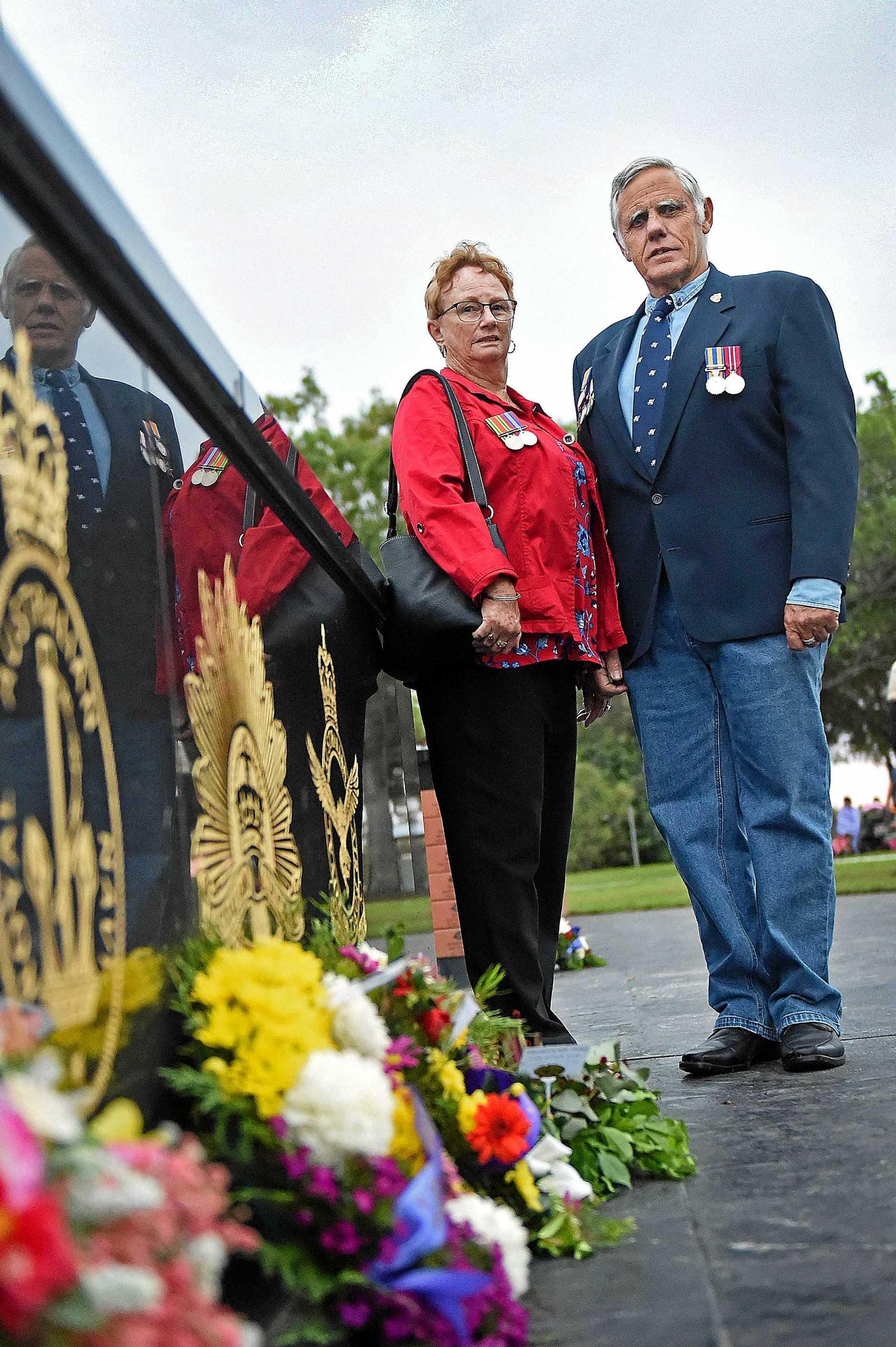 ANZAC day dawn service in Hervey Bay - Graeme Herridge and Helen Whitmore.