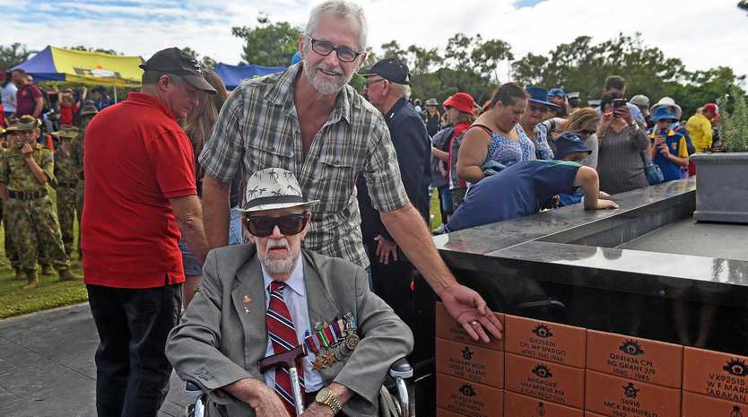 LIVING LEGEND: World Ward II veteran Wil Spargo and his son Paul Spargo at Freedom Park for the Anzac Day parade and ceremony.