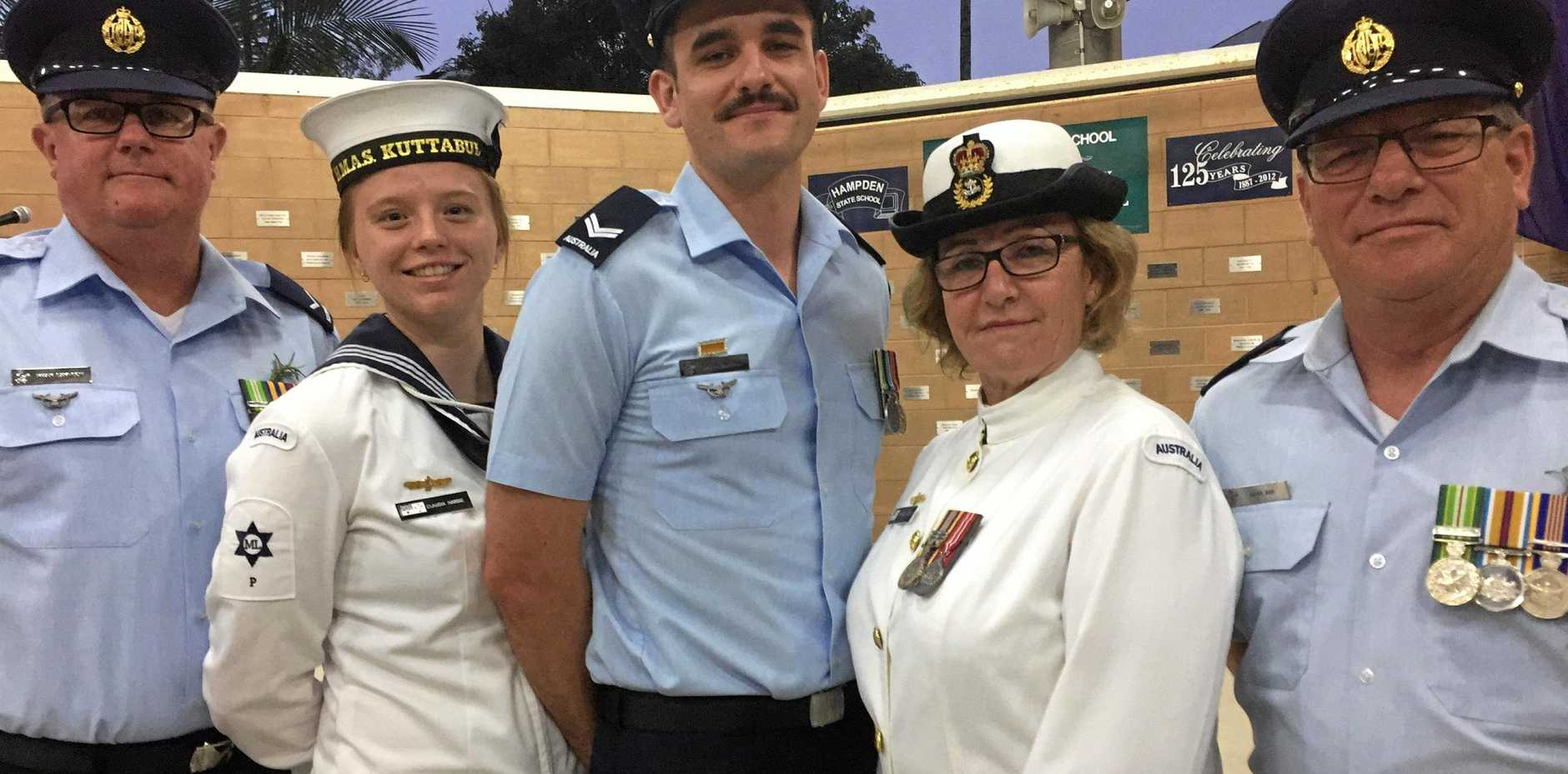Guests of Kuttabul RSL LAC Mark Sampson, AB Claudia Hardie, CPL Brenton Finn, CPO Margie Lacey and CPL Mark Ash after Kuttabul Dawn Service.