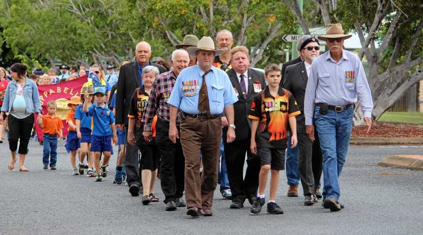 MARCHING: Nebo RSL members marching at the morning service.