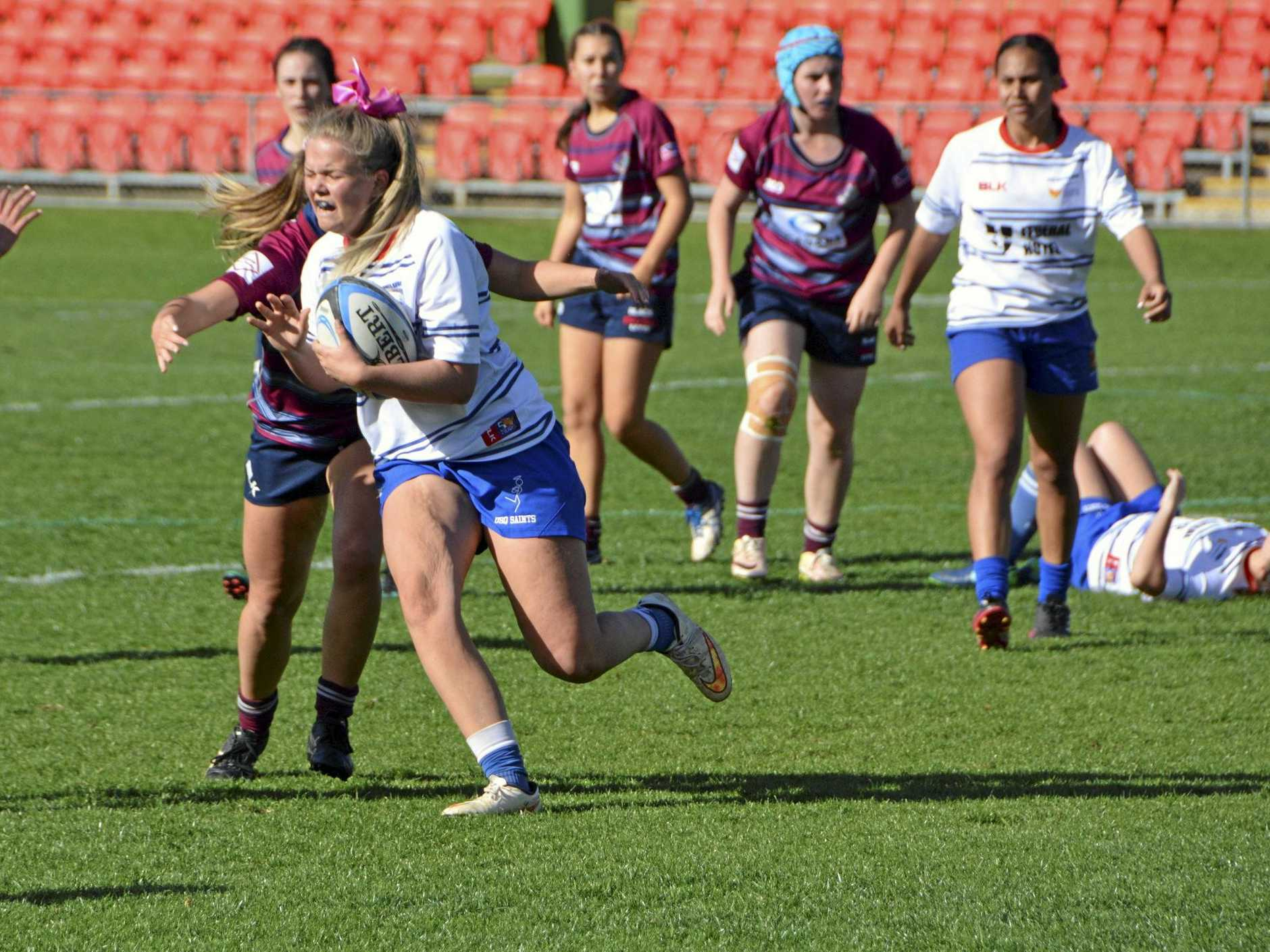 USQ player Abbie Jewell looks to break through the defence of Toowoomba Bears during the Emilee Cherry Cup grand final at Clive Berghofer Stadium last September.