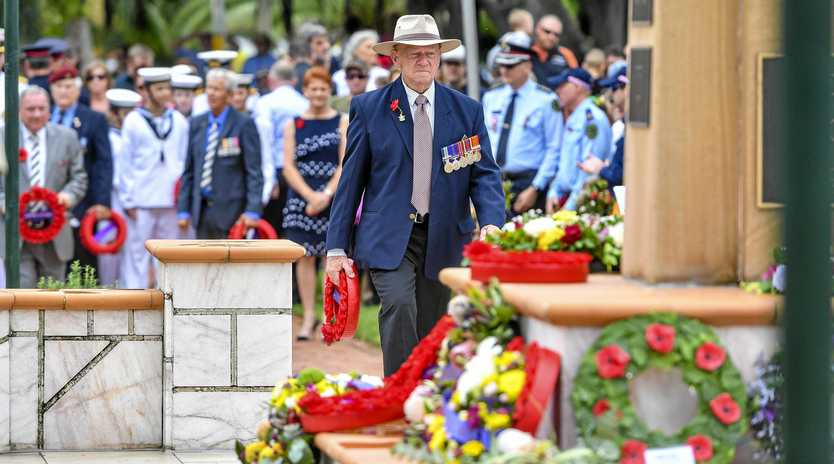 Gladstone RSL sub-branch vice-president Roy Aiton lays a wreath at the Gladstone service.