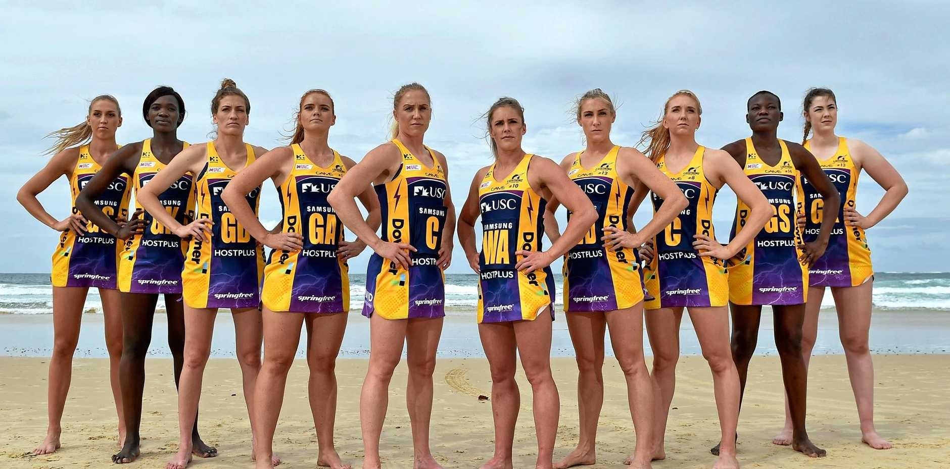 LIGHTNING: Sunshine Coast Lightning athletes Cara Koenen, Phumza Maweni, Karla Pretorius, Steph Wood, Laura Langman, Laura Scherian, Jacqui Russell, Madeline McAuliffe, Peace Proscovia and Annika Lee-Jones.