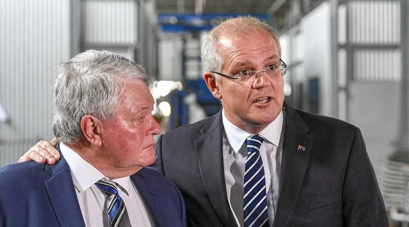Australian Prime Minister Scott Morrison met with staff and workers from company AusProof during a visit to Gladstone, while on the election campaign trail, on 26 April 2019