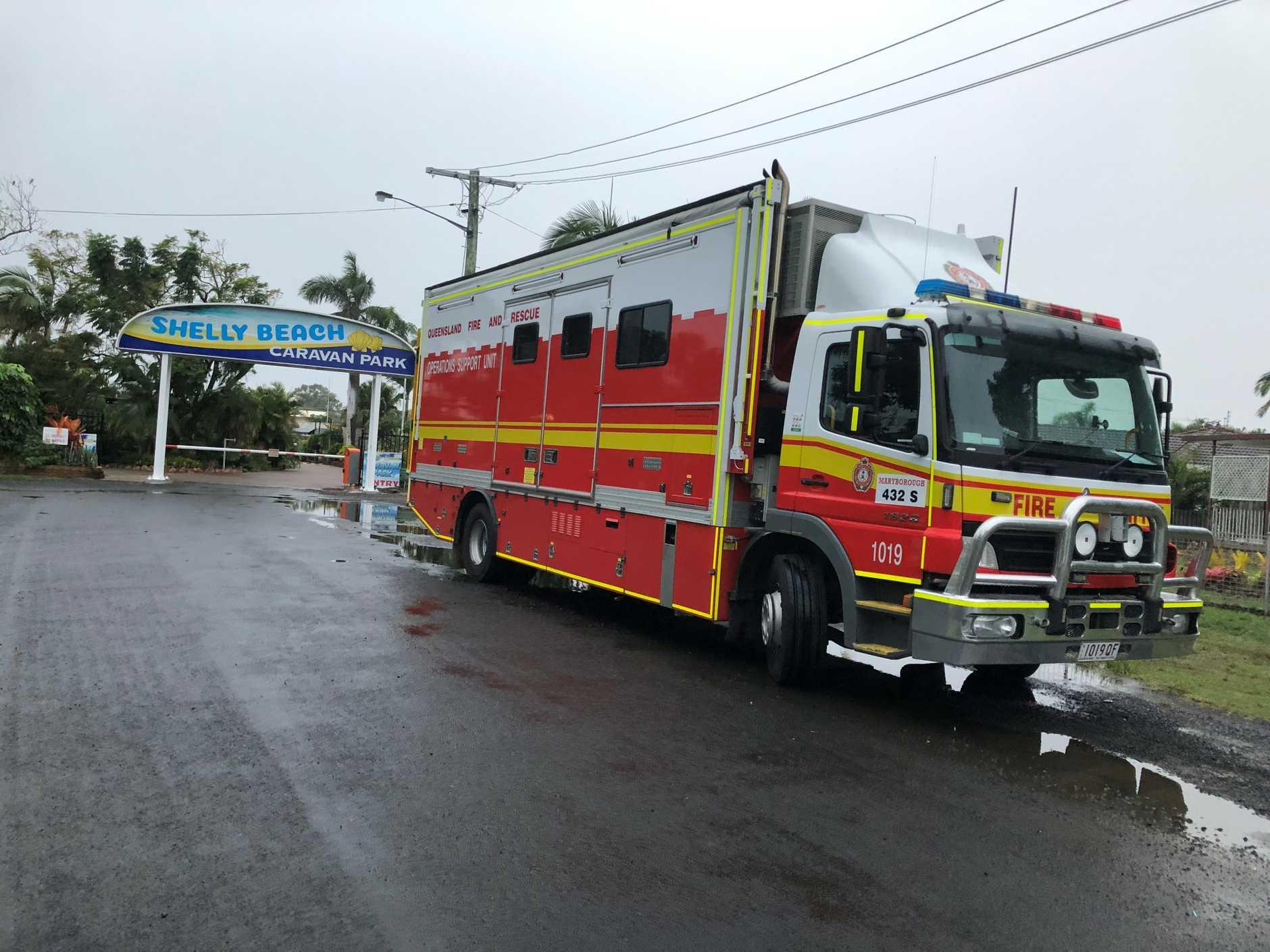 A fire truck outside Shelly Beach Caravan Park.