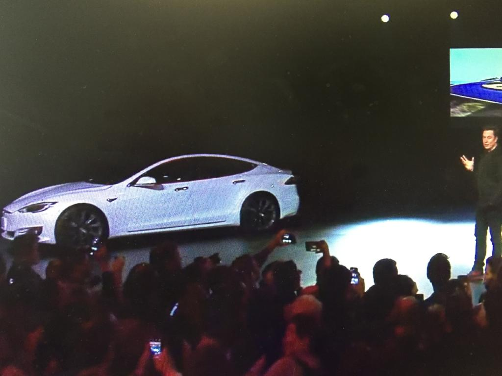 Elon Musk at the Model Y launch. Picture: Supplied
