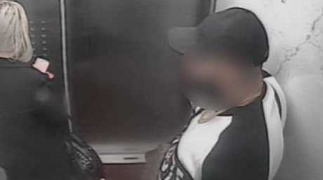 CCTV footage shows the rapist (right) following one of his victims, a 22-year-old woman, up a lift in Sydney's Park Regis Apartment just moments before he attacked her.