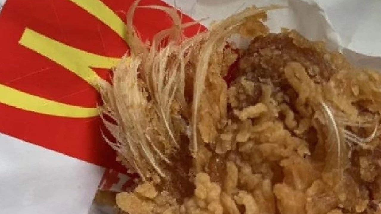 Mum furious after her daughter choked on feathers that were still attached to a McDonald's fried chicken wing.