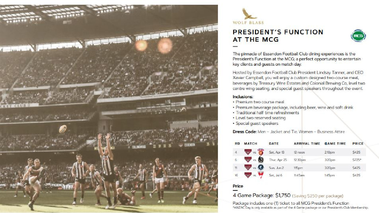 Essendon promoting the President's Function to its supporters. Image: essendoncorporatehospitality.com.au