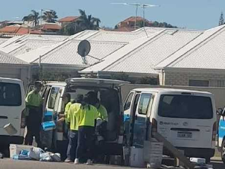 The group were spotted carelessly tossing the parcels onto the ground. Picture: Michelle Shoosmith