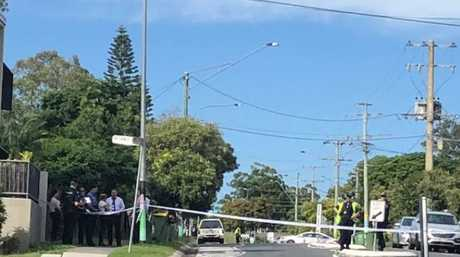 Police are at the scene of a stabbing death at North Rd, Woodridge.