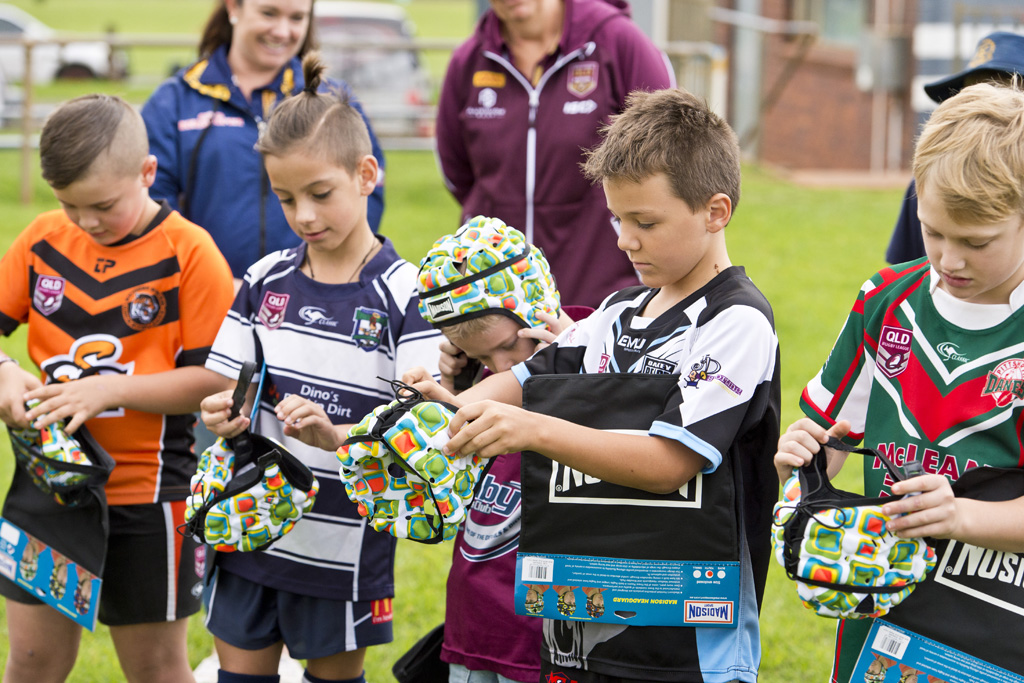 Almost 200 junior rugby league players, including (from left) Harrison Parsons (Souths), Lincoln Karaka (Brothers), Noah Marshall (Dalby), Wyatt Drury (Oakey) and Thomas Carney (Pittsworth), will get free protective headgear thanks to the The Great White Campaign.