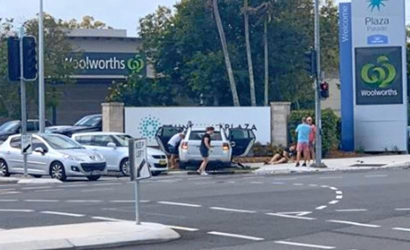 Eight people were hurt in this multi-vehicle crash on Plaza Parade, Maroochydore.