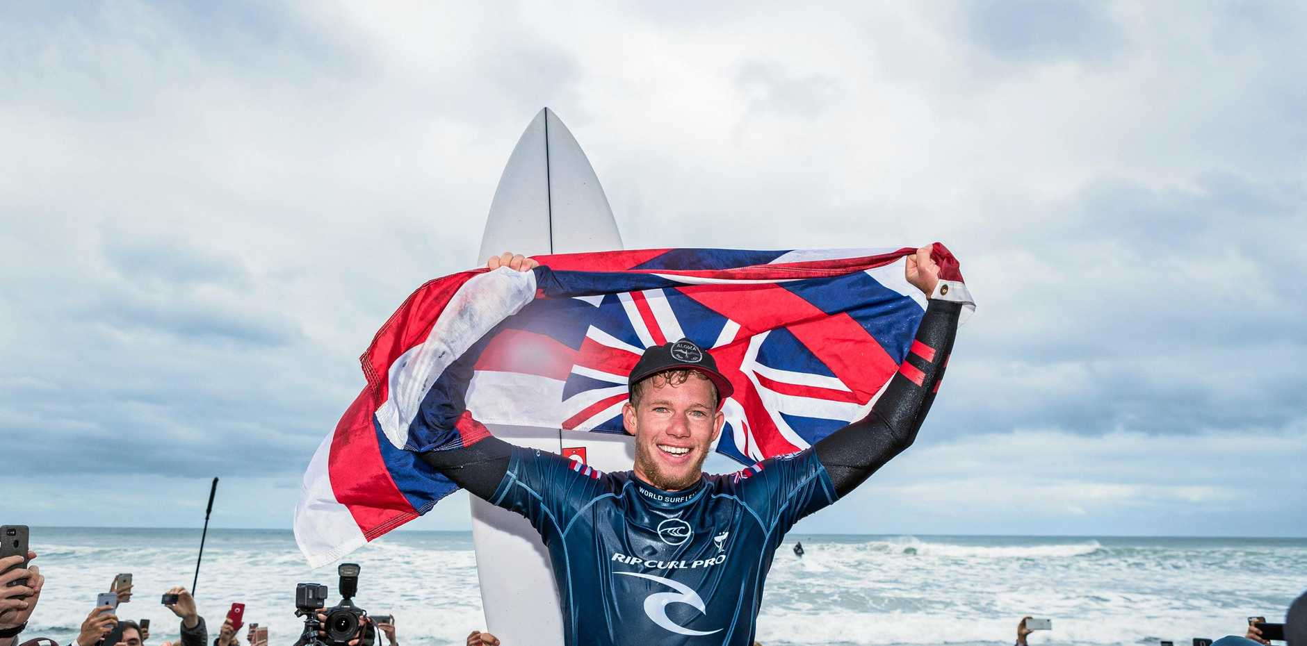 John John Florence reacts after winning the 2019 Rip Curl Pro at Bells Beach, Victoria.
