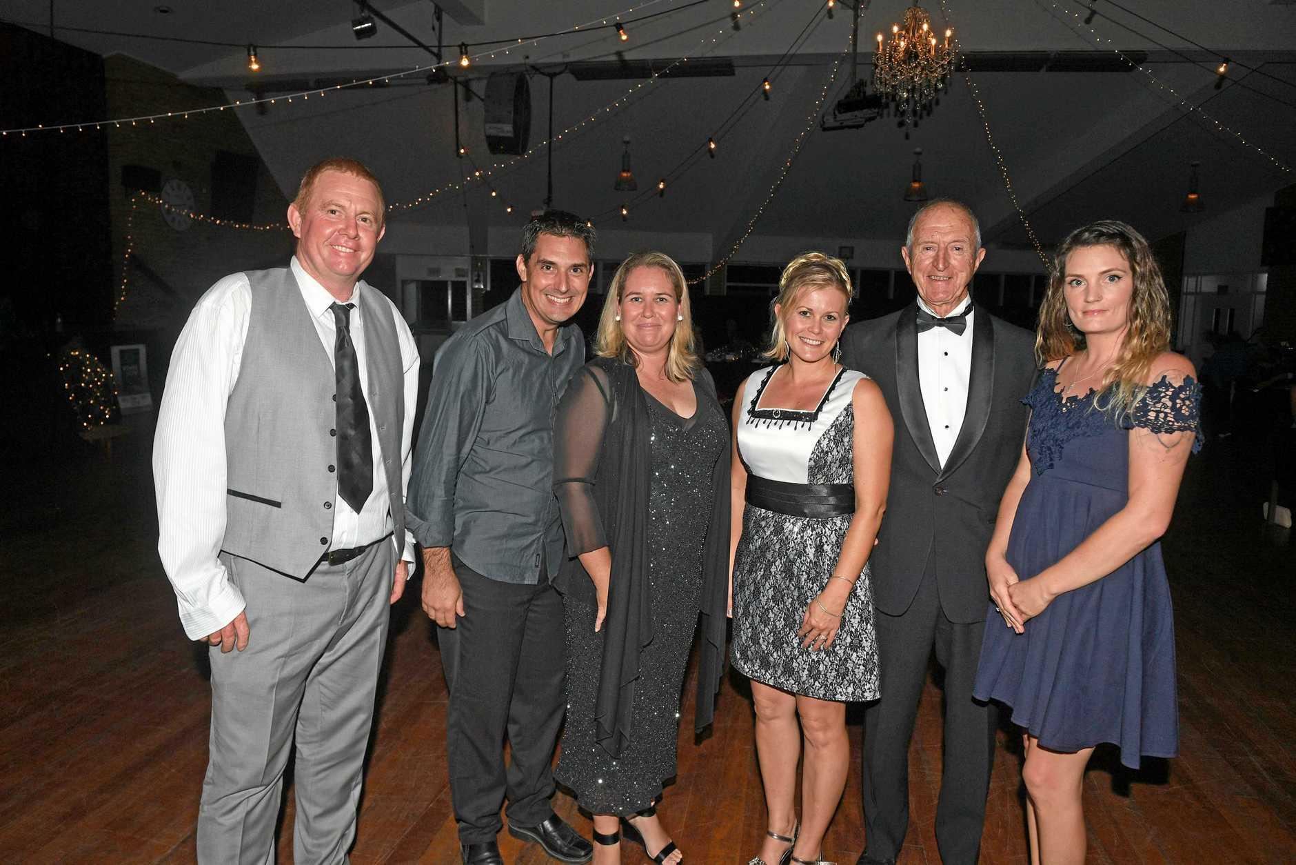 Gympie Show Ball - Ian Fletcher, Russell Jensen, Melina Fletcher, Yvonne Jensen, Merv Welch, Casie Webb