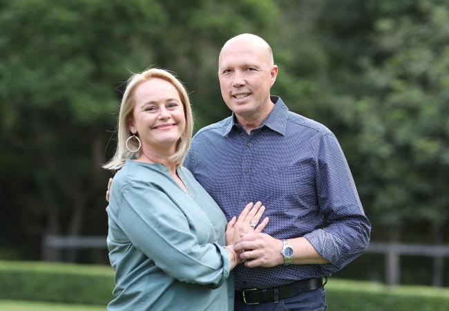 Peter Dutton with his wife Kirilly. Picture: Peter Wallis