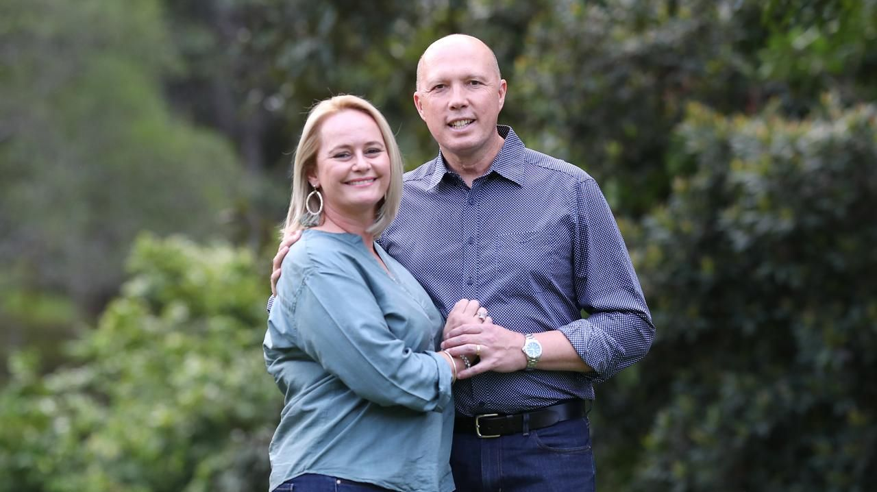 Peter Dutton and wife Kirilly. Picture: Peter Wallis