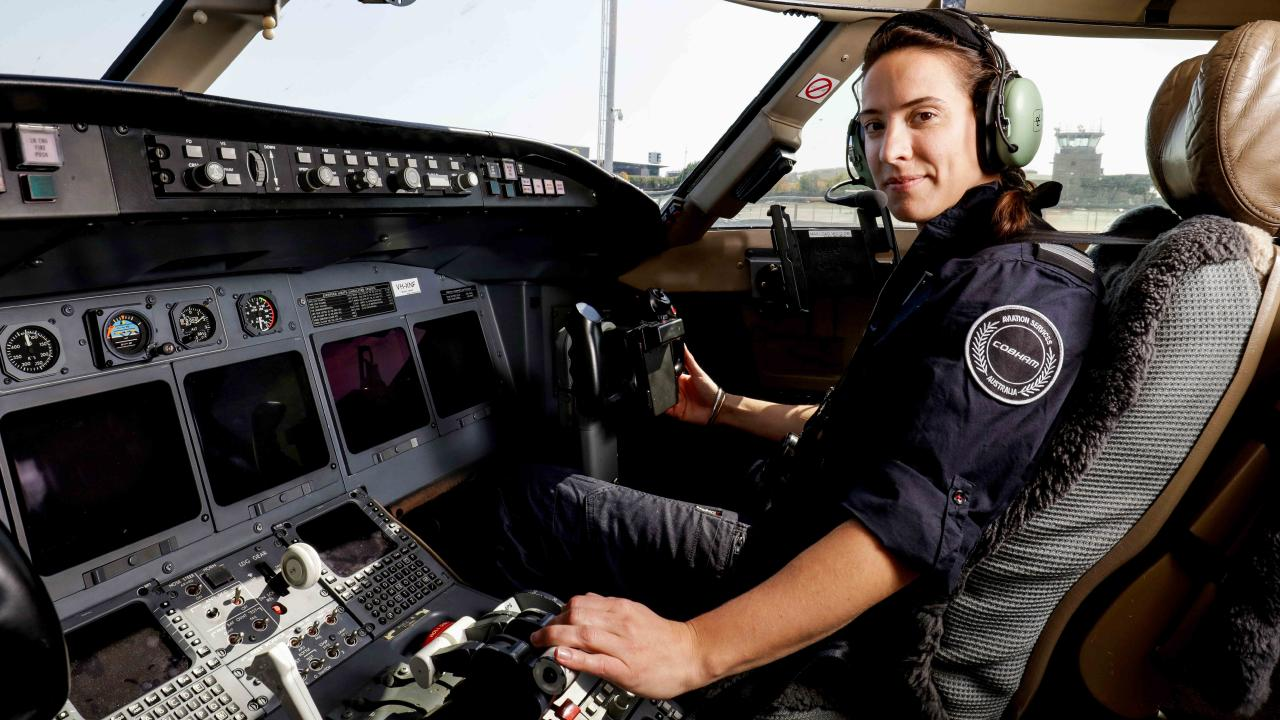 At the ready. Georgia Weeks is the first female pilot for the Australian Maritime Safety Authority (AMSA). Picture: Nicole Cleary