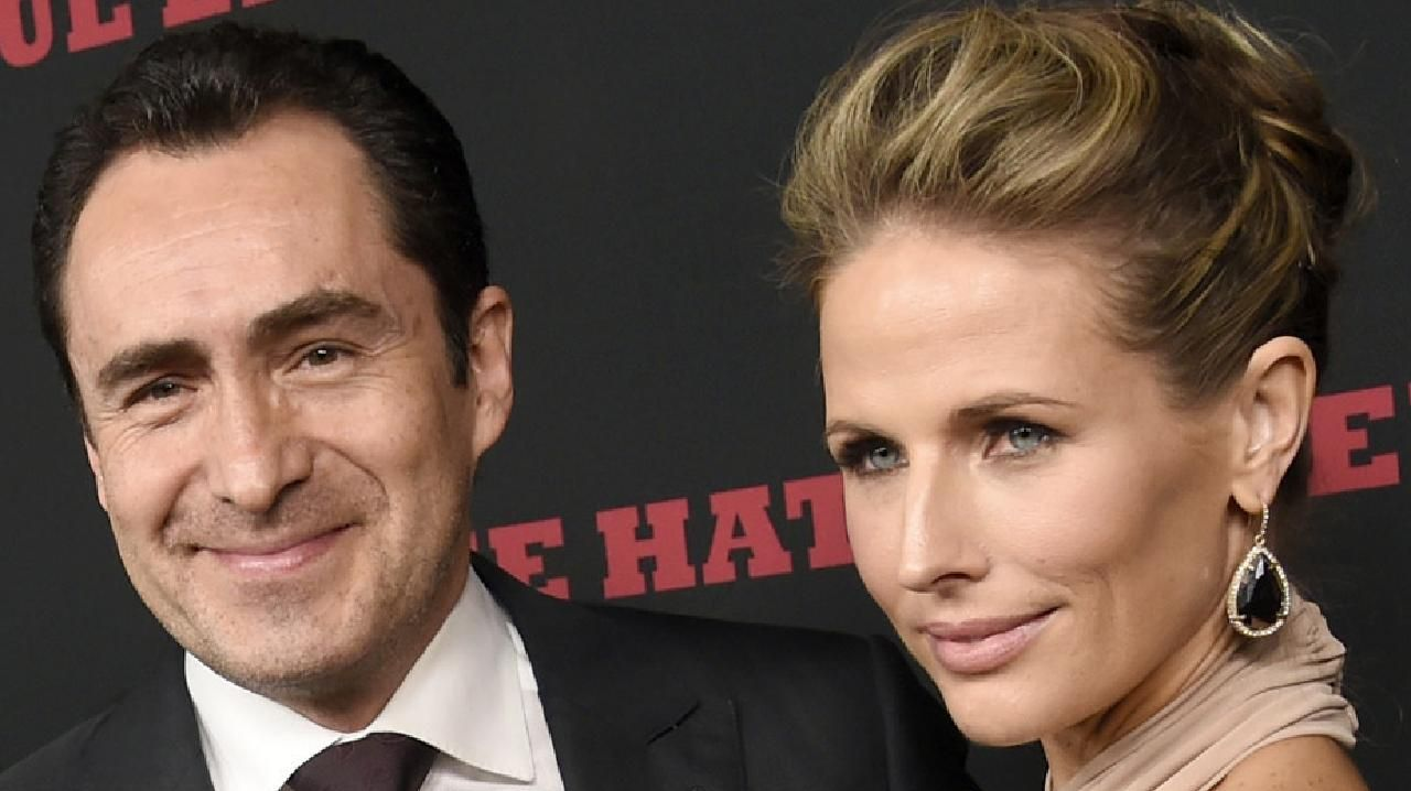 Demian Bichir, a cast member in The Hateful Eight, and his wife Stefanie Sherk.  Picture:  AP