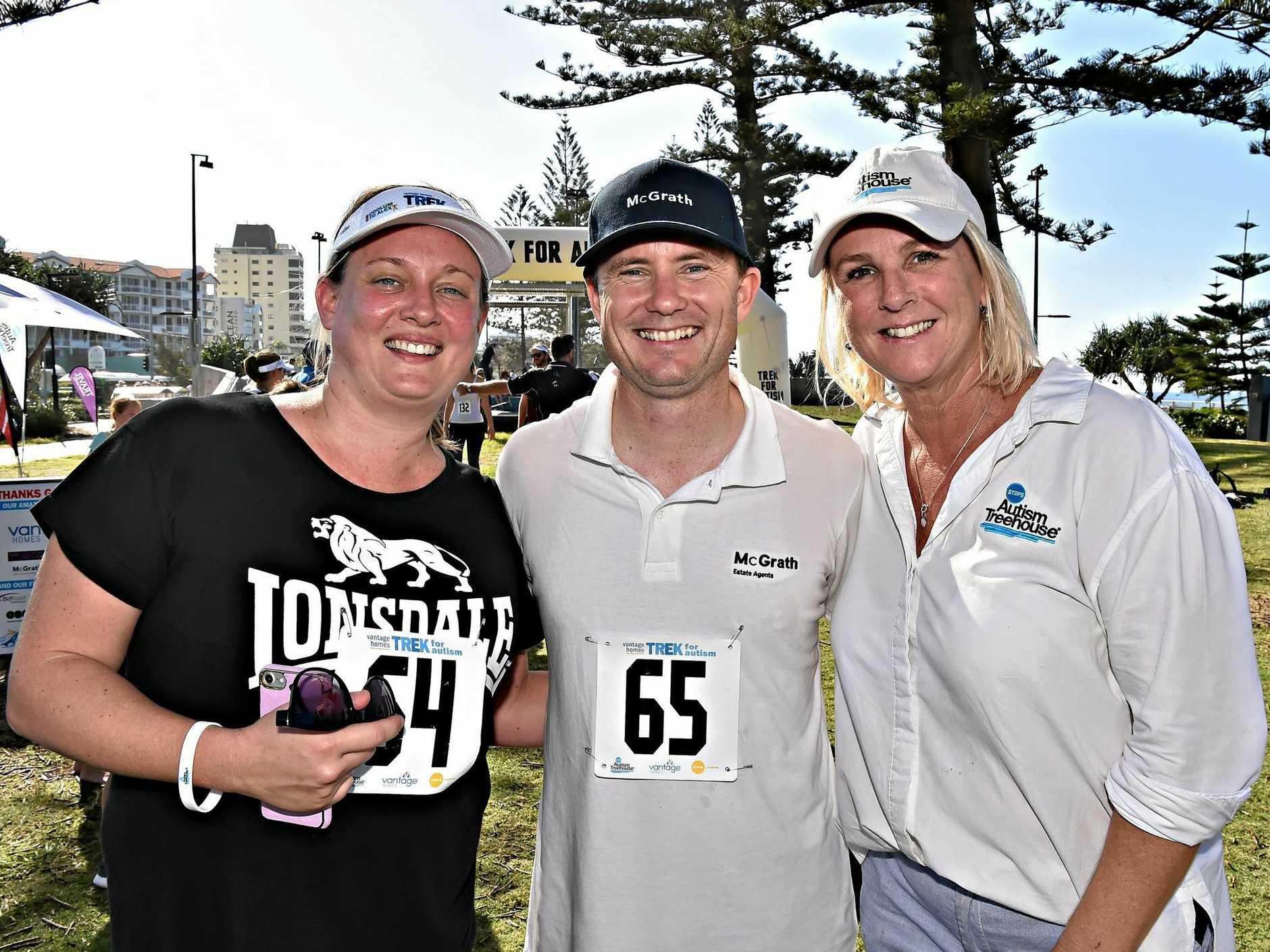 TOP EFFORT: Leah (left) and Clint Smith celebrate with Steps Autism Treehouse coordinator Claire Gilmour after yesterday's Trek for Autism.