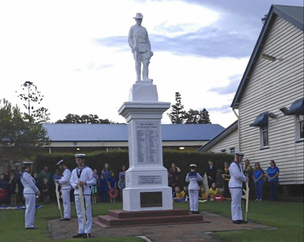 HONOUR GUARD: Maryborough Naval Cadets as the catafalque party at the Tiaro Anzac Day dawn service.