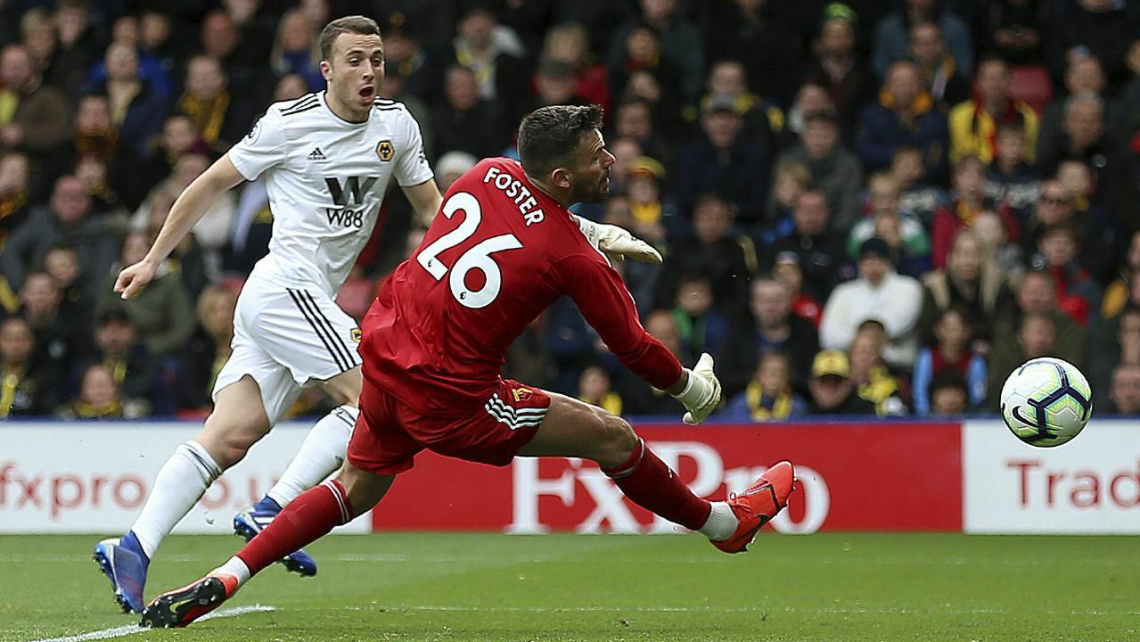 Wolverhampton's Diogo Jota beats Watford keeper Ben Foster. Picture: PA via AP)