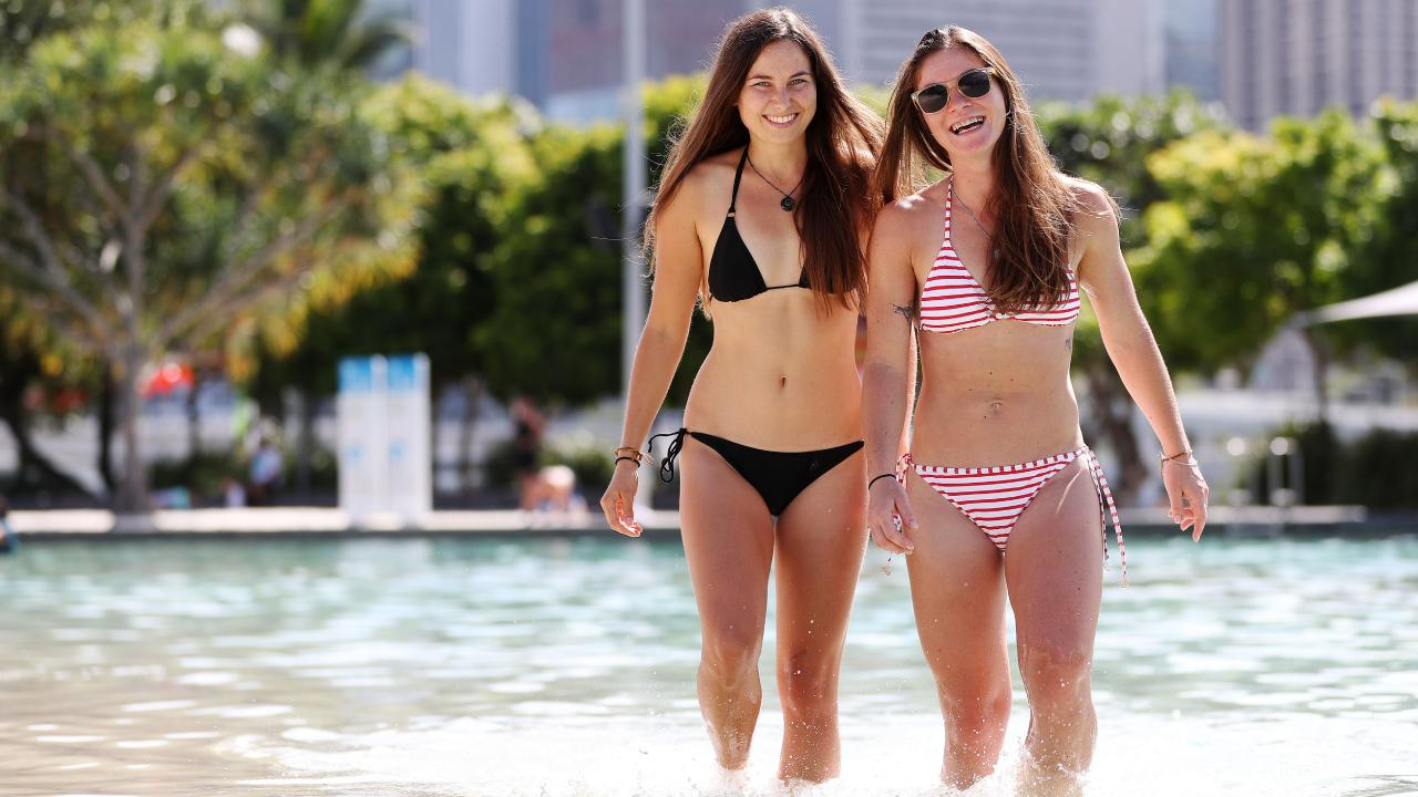 Nina Cingelova, 25, and Lenka Chaloupkova, 31, say they always carry sunscreen. Picture: Tara Croser