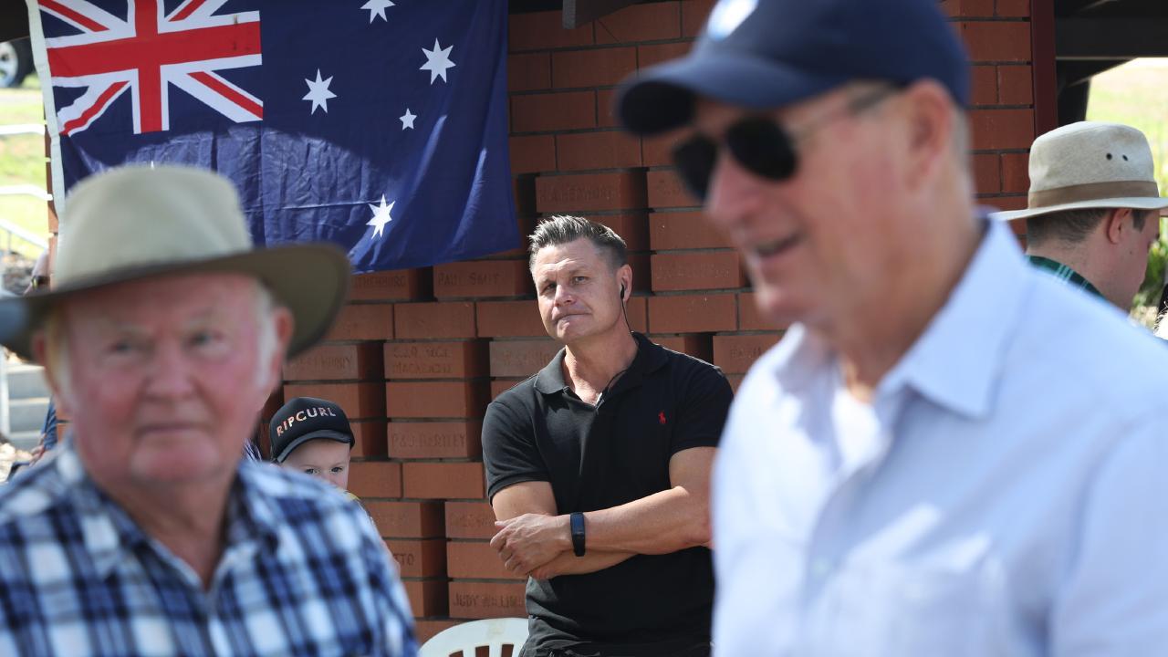 Senator Fraser Anning (right) attends the True Blue Crew barbecue in Gatton. Picture: Nigel Hallett