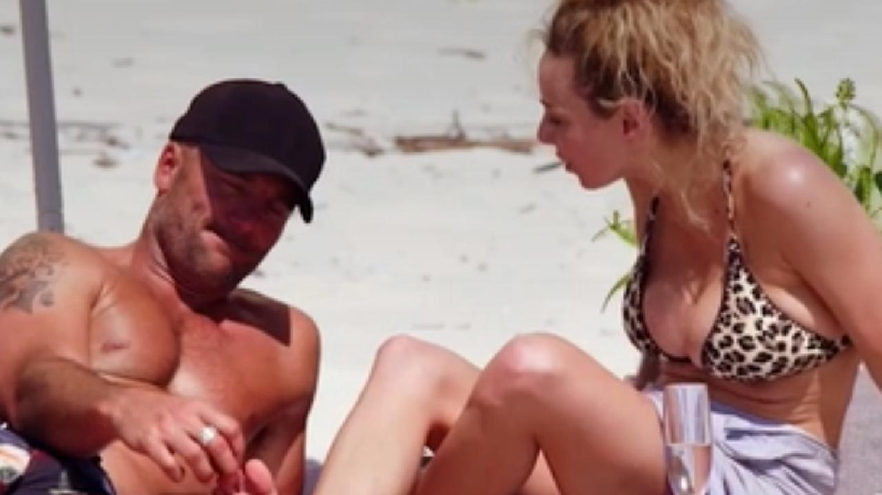Mike Gunner and Heidi Latcham arguing on the beach. Picture: Channel 9
