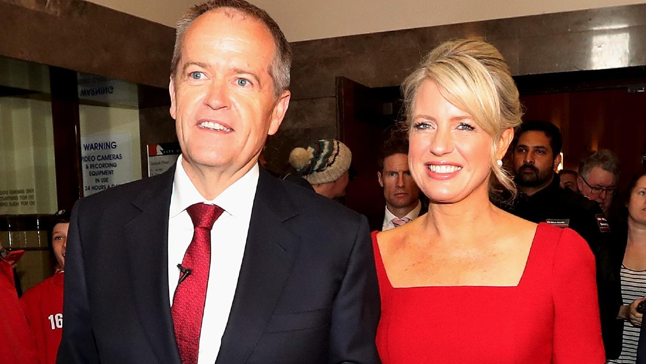 Opposition Leader Bill Shorten with wife Chloe after speaking to Labor party supporters at a rally in Box Hill, Melbourne. Picture: Kym Smith