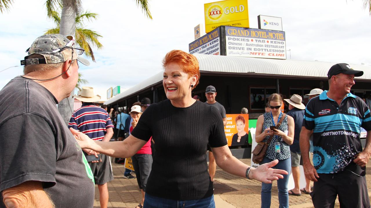 One Nation leader Pauline Hanson meets locals in Clermont. Picture: Getty Images