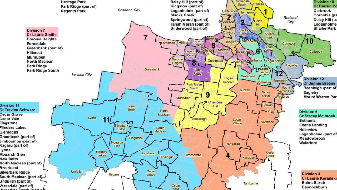 Current Logan City Council electorate boundaries.