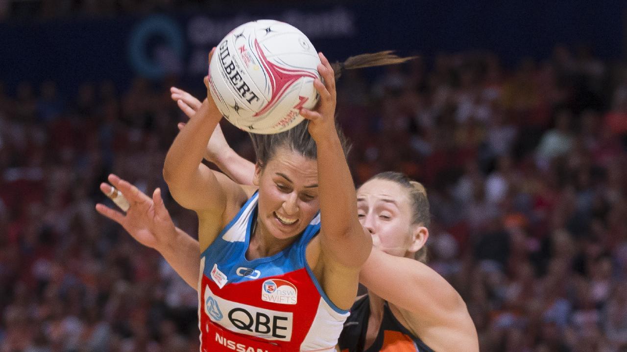 Heavy contact between Maddy Proud and Jamie-Lee Price. Picture: AAP