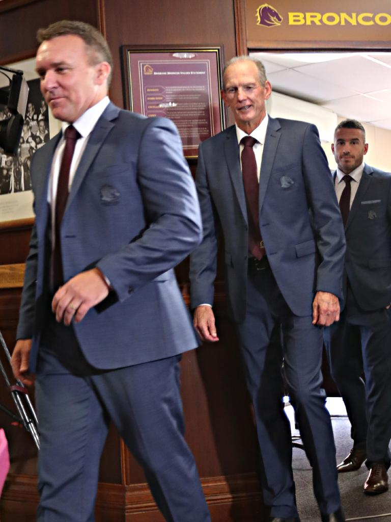 Paul White, Wayne Bennett and Darius Boyd at Broncos HQ. Picture: Annette Dew
