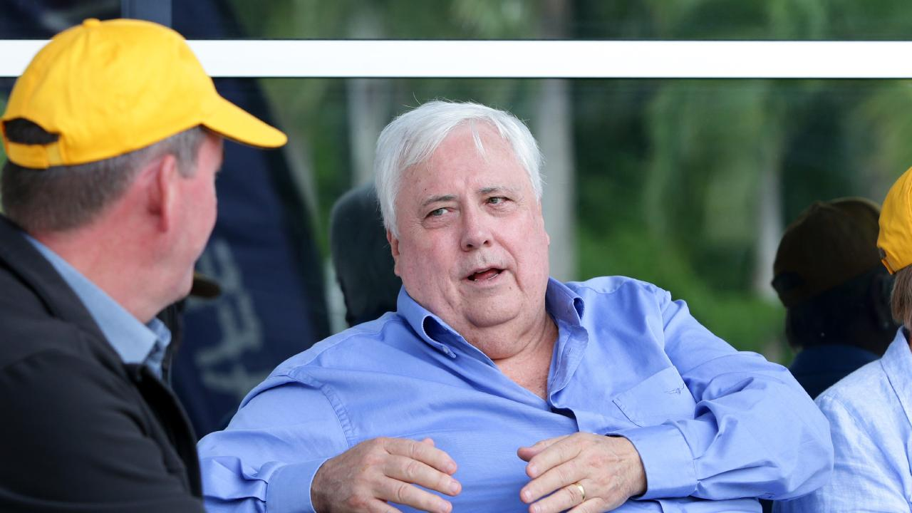 Clive Palmer, before the Pro-Adani protest, in Jubilee Park, Mackay on Saturday April 27th, 2019 (Image AAP/Steve Pohlner)