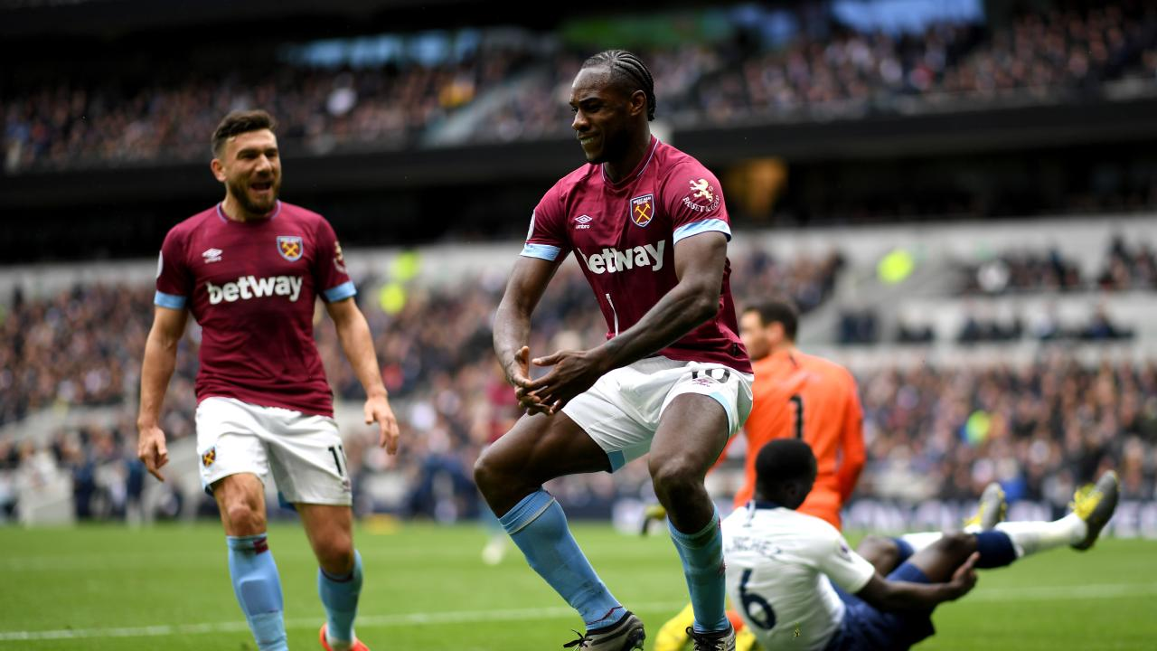 West Ham's Michail Antonio does a victory dance after scoring the winner against Tottenham. Picture: Getty Images