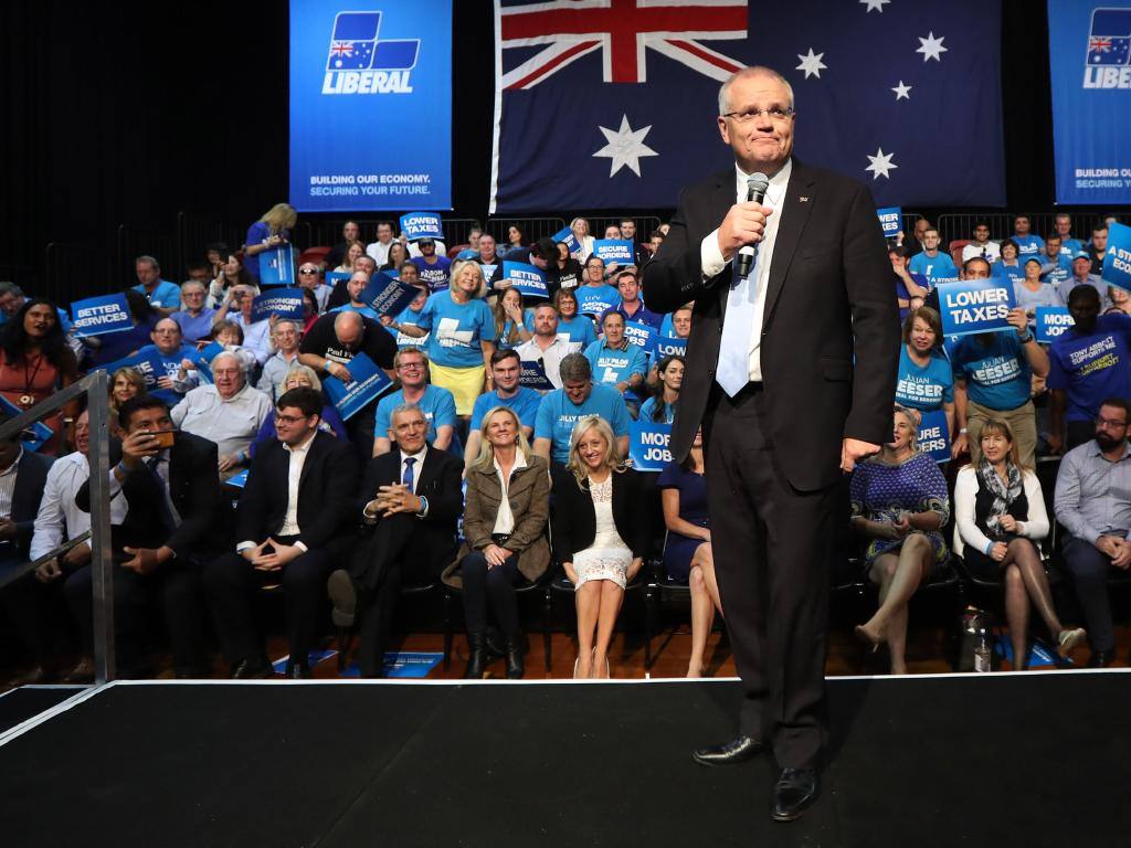 Prime Minister Scott Morrison outlines his refugee greets the Liberal Party faithful in Sydney. Picture: Gary Ramage