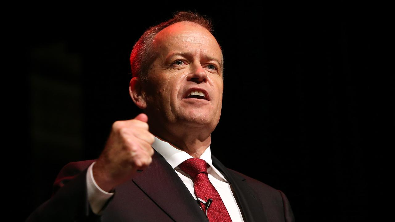 Opposition Leader Bill Shorten speaking to Labor party supporters at a rally in Box Hill, Melbourne. Picture: Kym Smith