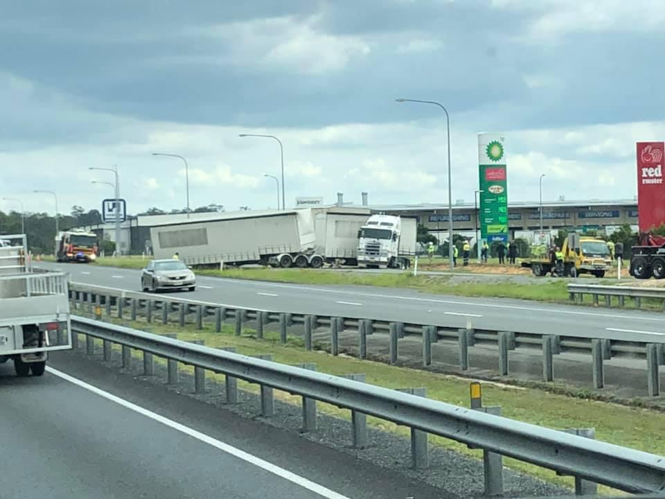 The scene of the crash on the Logan Motorway. PHOTO: Facebook