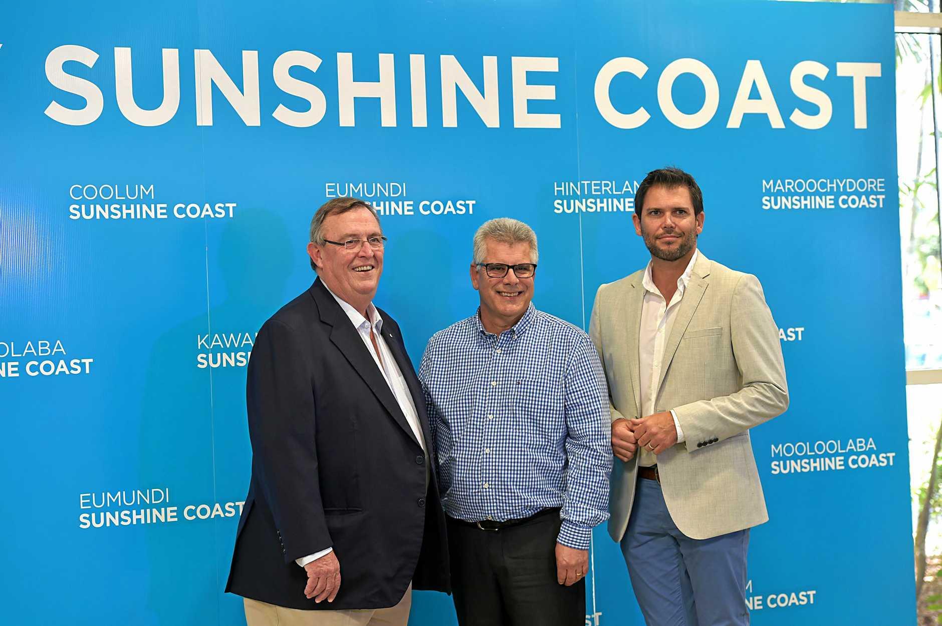 Sunshine Coast Airport, Tourism Noosa and Visit Sunshine Coast form a new partnership.David Ryan from Visit Sunshine Coast, Peter Pallot from Sunshine Coast Airport and Steve McPharlin from Tourism Noosa