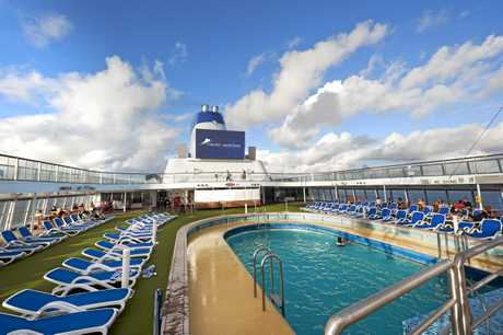 The pool on the Lido Deck of Cruise & Maritime Voyages' Columbus.