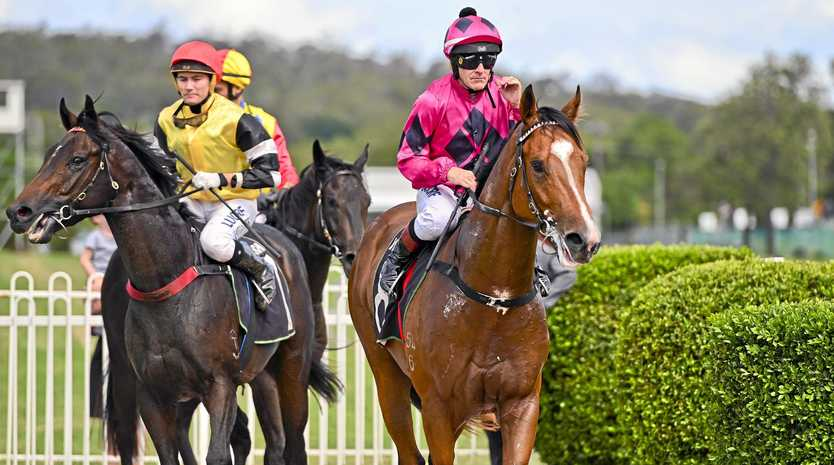 ON TRACK: Premiership-leading jockey Jeff Lloyd (right) adds Ruuca to his growing tally of Ipswich wins.