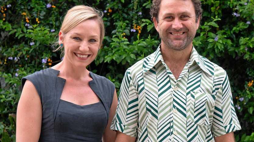 Greens senator Larissa Walters and candidate for Flynn Jaiben Baker.