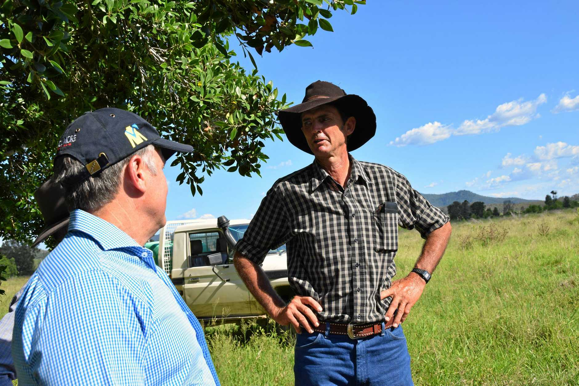 SURROUNDED: Federal shadow agriculture minister Joel Fitzgibbon talks with grazier Rick Bowman about the proposed Shoalwater Bay Military Training Area expansion.