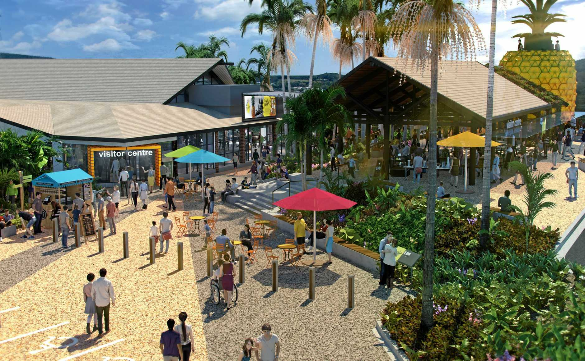 VISION: Artist's impressions of the revamped Big Pineapple's entrance and main hall.
