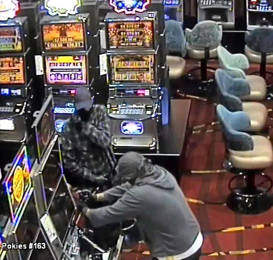 Two offenders broke into The Waves Sports Club taking money from pokie machines.