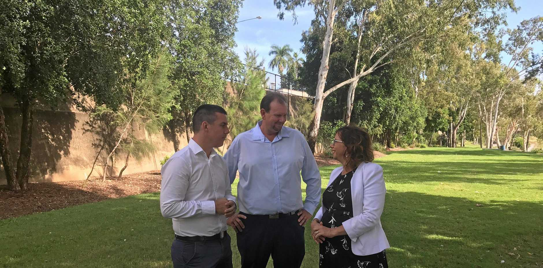 OVERHAUL: Labor candidate for Flynn Zac Beers, for Capricornia Russell Robertson and MP Amanda Rishworth.
