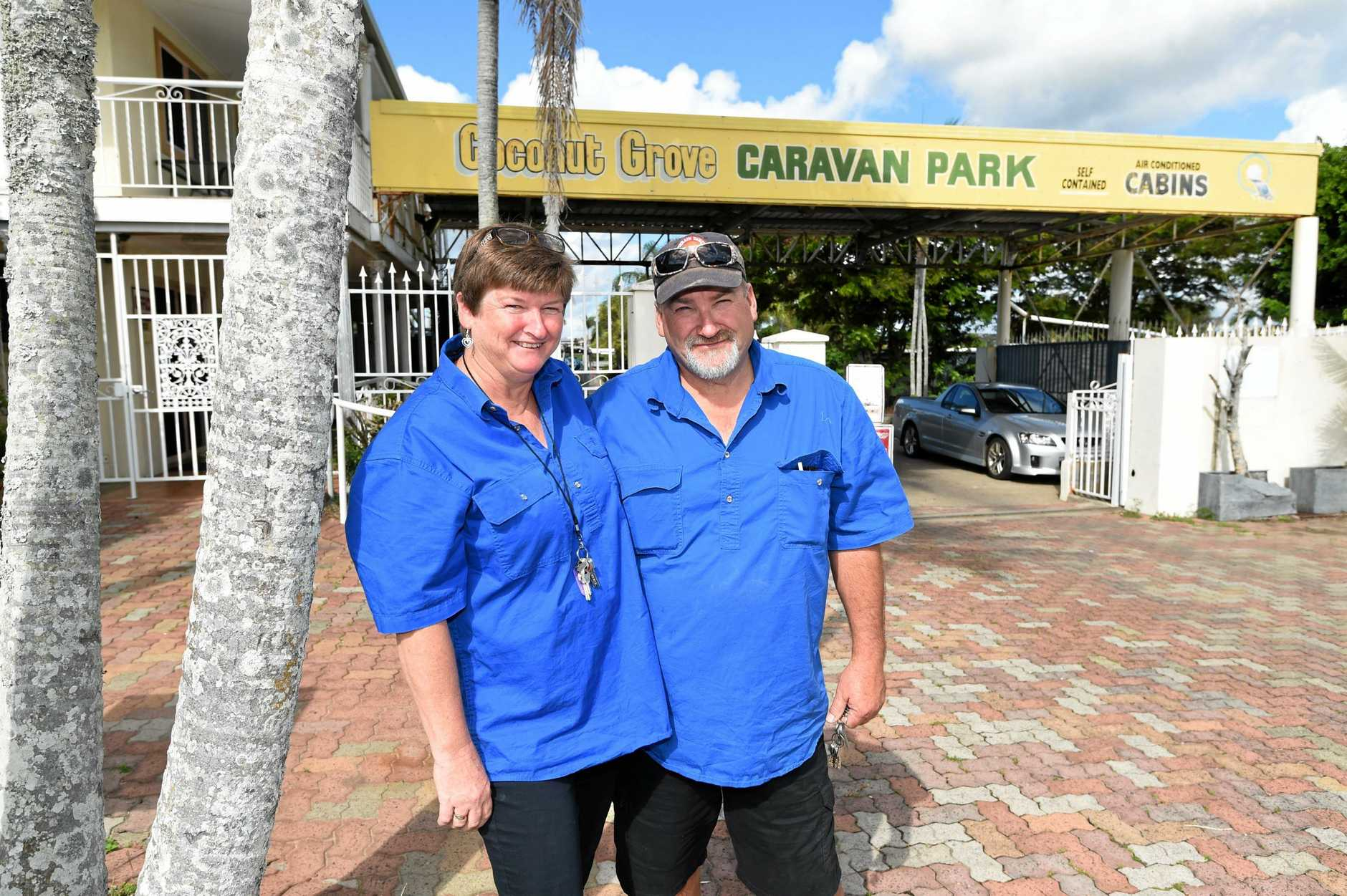 NEW CHALLENGE: The Bay Caravan Park's (formerly Coconut Grove Caravan Park) new managers Ellen and Michael.