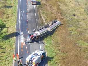 Driver injured as fuel tanker crashes on highway