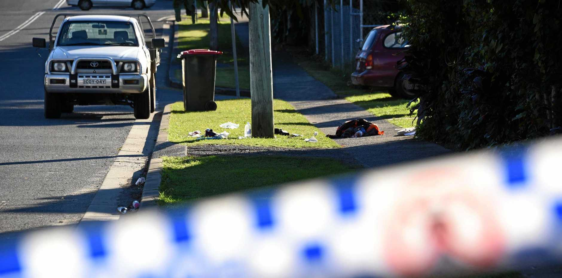 Scene of a fight and stabbing in a park and street in Murwillumbah.